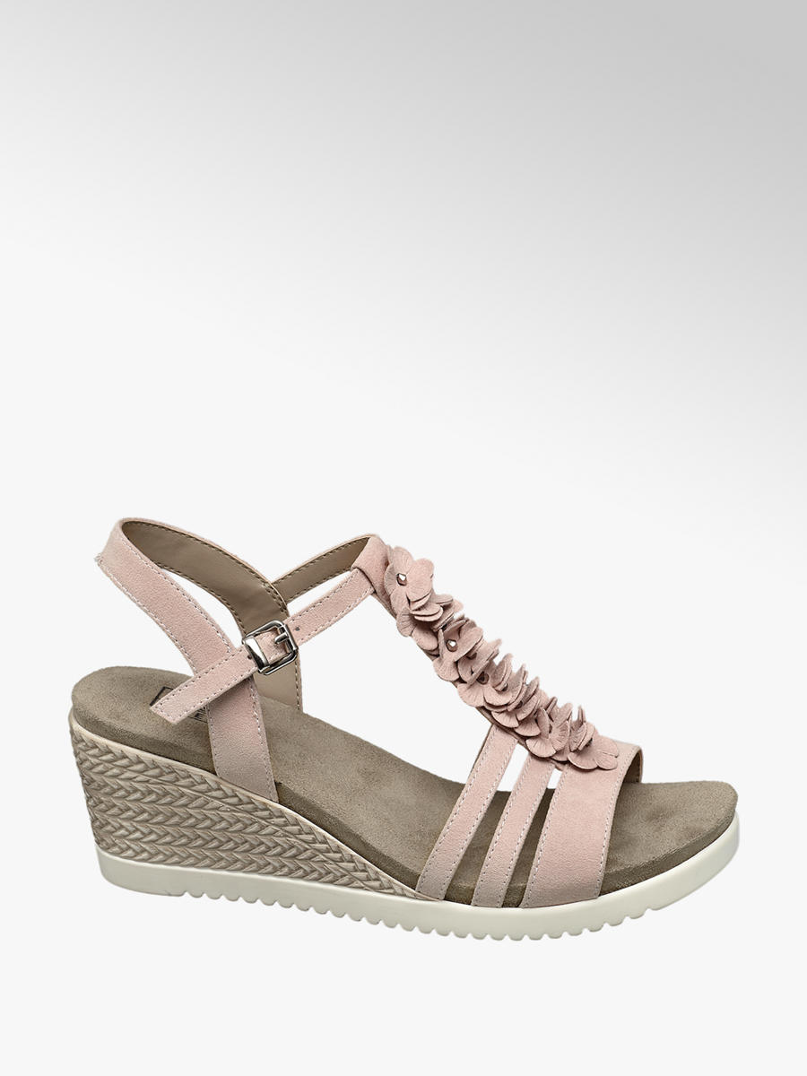 29d6f37dc9dd Easy Street Ladies  Pink 3D Flower Wedge Sandals