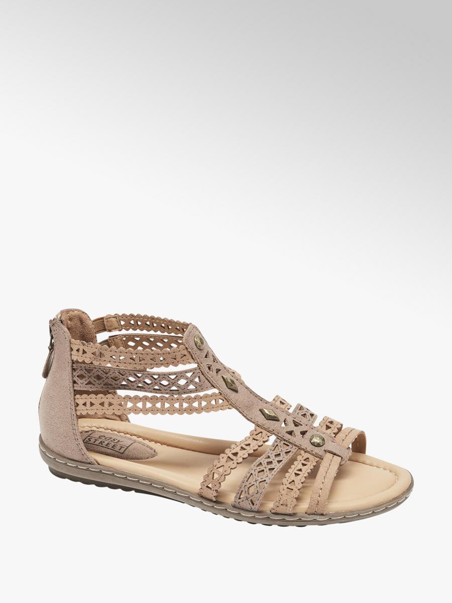 f2d7b1faea73 Easy Street Ladies  Tan Gladiator Sandals