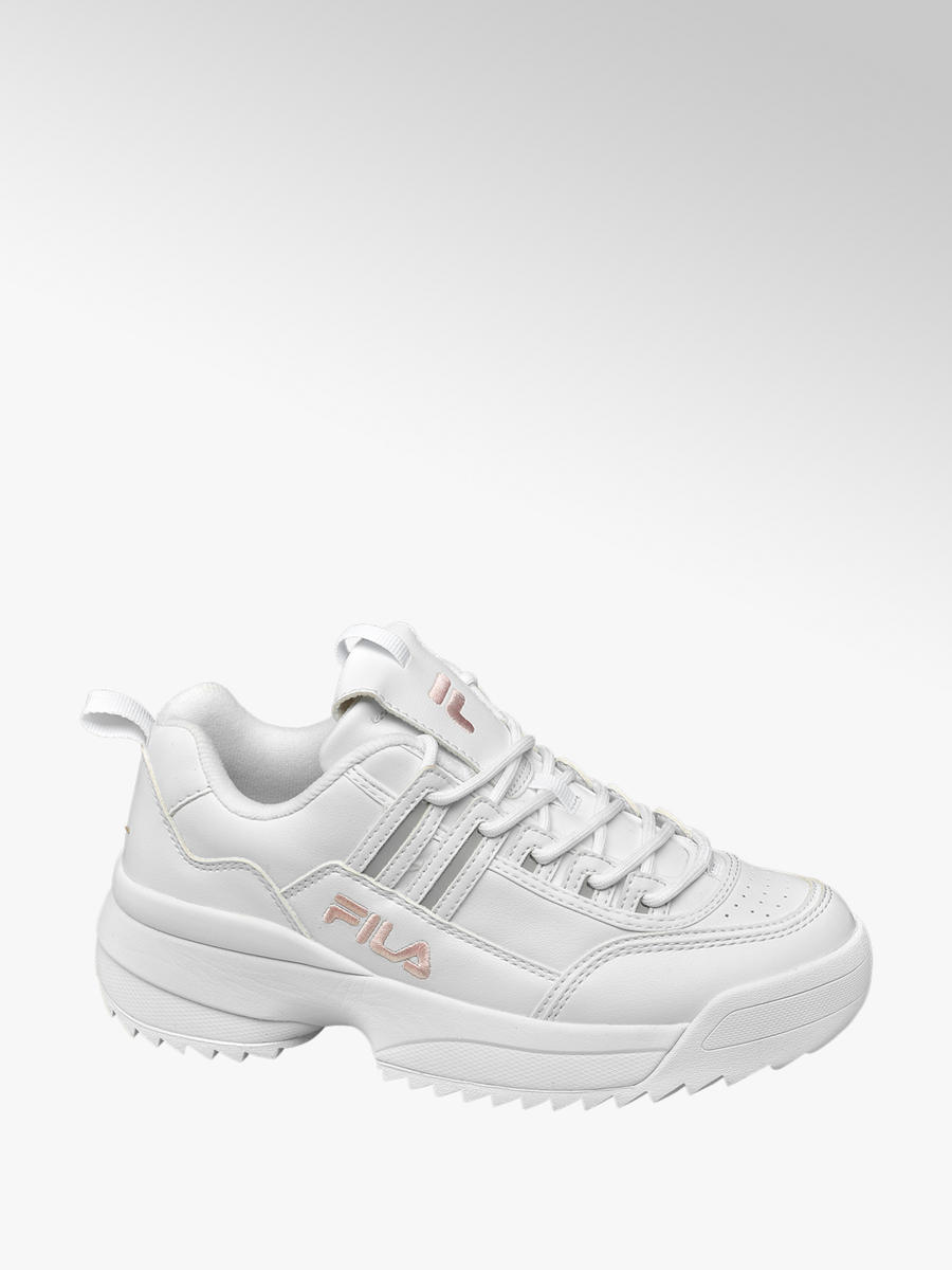 Fila Ladies' Chunky White and Pink Trainers | Deichmann