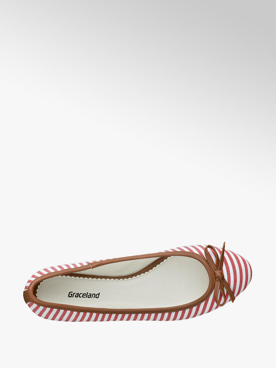 Graceland Ladies' Striped Ballerina Flats Red and White