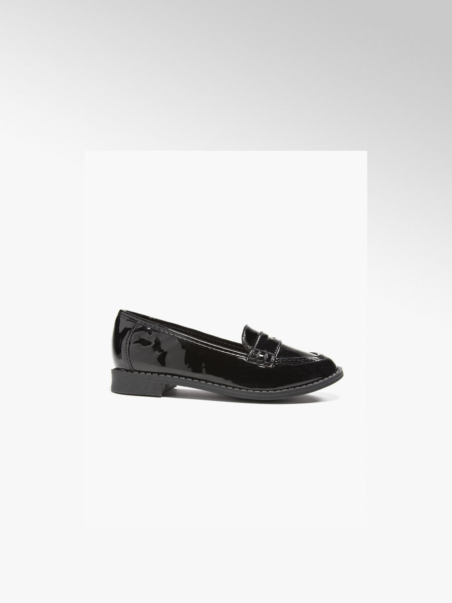 Girls Patent Loafer Shoes Black