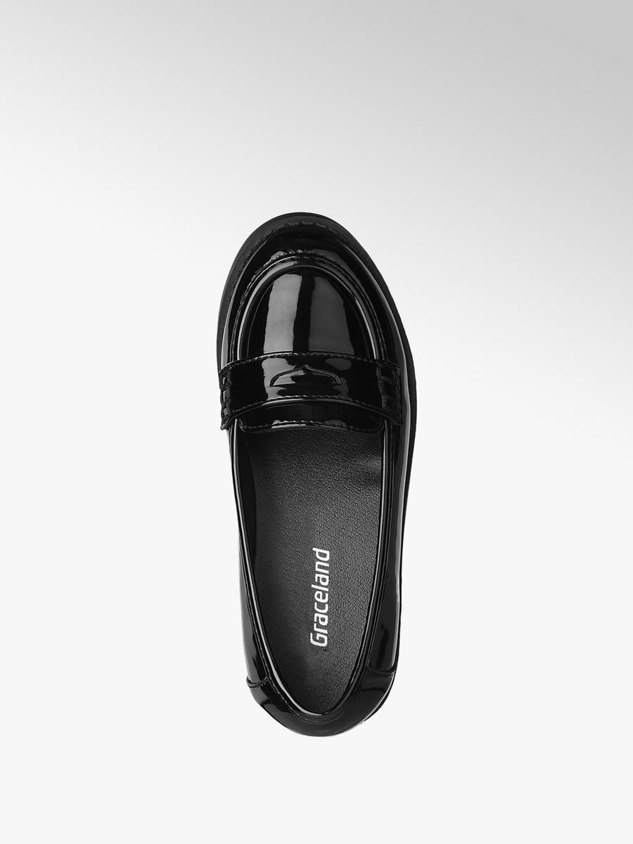 Graceland Girls Patent Loafer Shoes Black | Deichmann