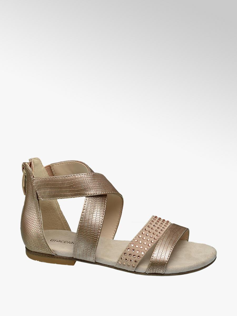 0334e3185677 Graceland Junior Girls  Gold Gem Gladiator Sandals