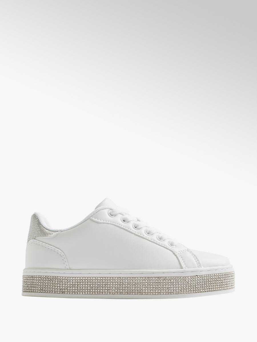 Jewel Detail Casual Lace-Up Shoes White