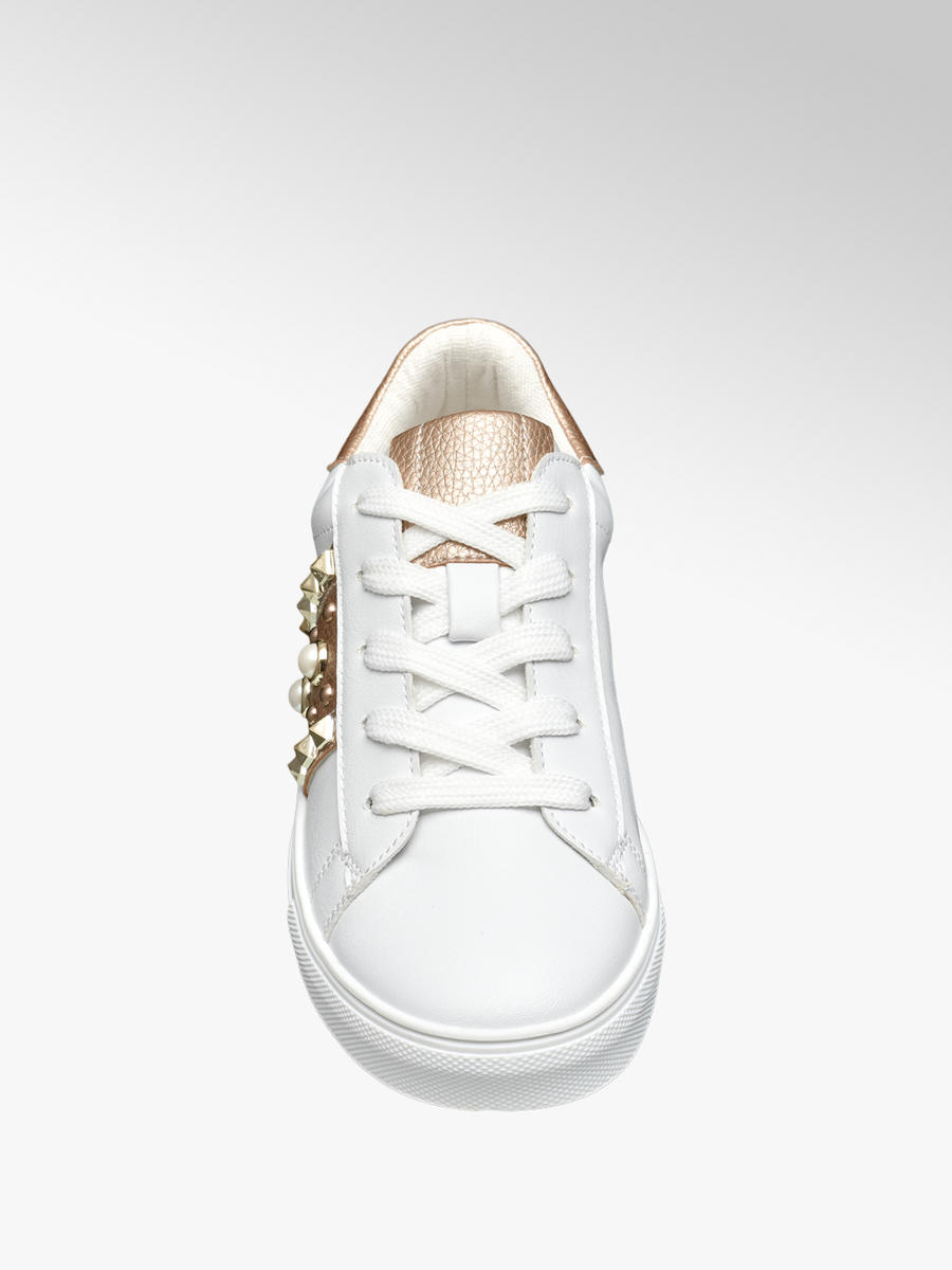 9e3ab7f6eec7 Graceland Junior Girls  Rose Gold Detail Casual White Shoes