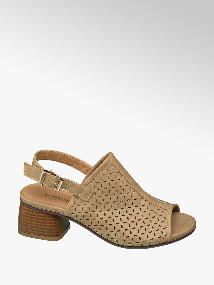 3b76c57d45 Graceland Ladies' Beige Laser Cut Peep-toe Block Heels | Deichmann