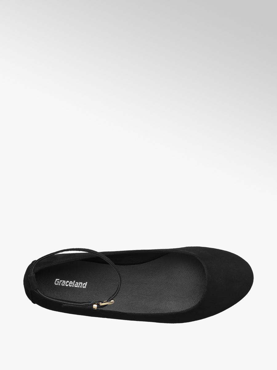 cdd02a62e9526 Graceland Ladies Black Ankle Strap Ballerina Shoes   Deichmann