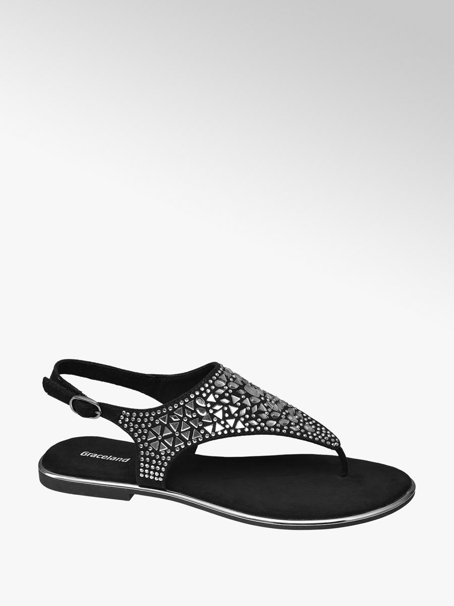 473c792fc9b Graceland Ladies  Black Gem Detail Toe-post Sandals