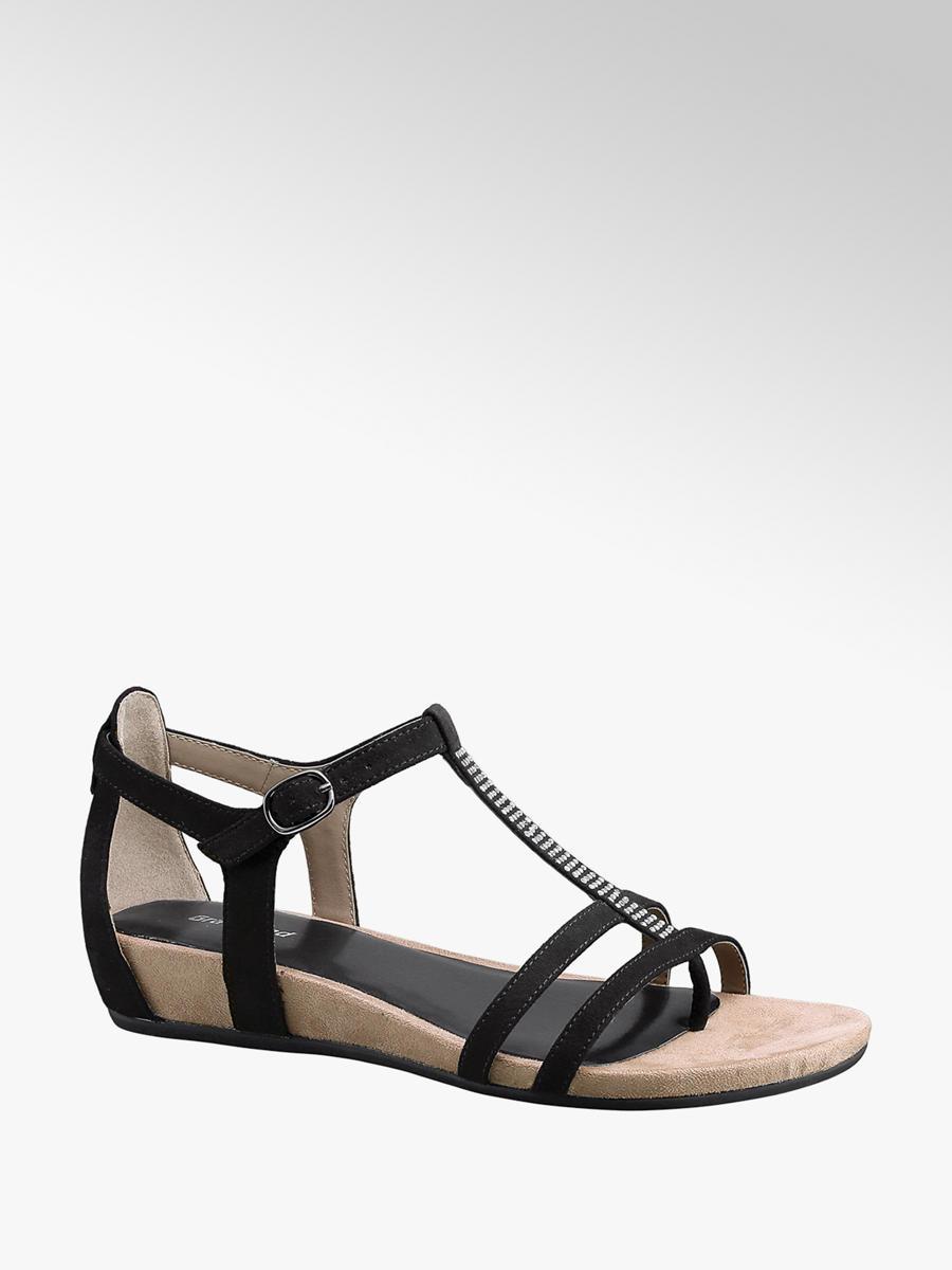 Graceland Ladies' Black T-Bar Sandals