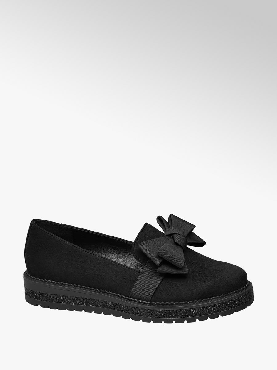 Graceland Ladies Bow Trim Loafer Black