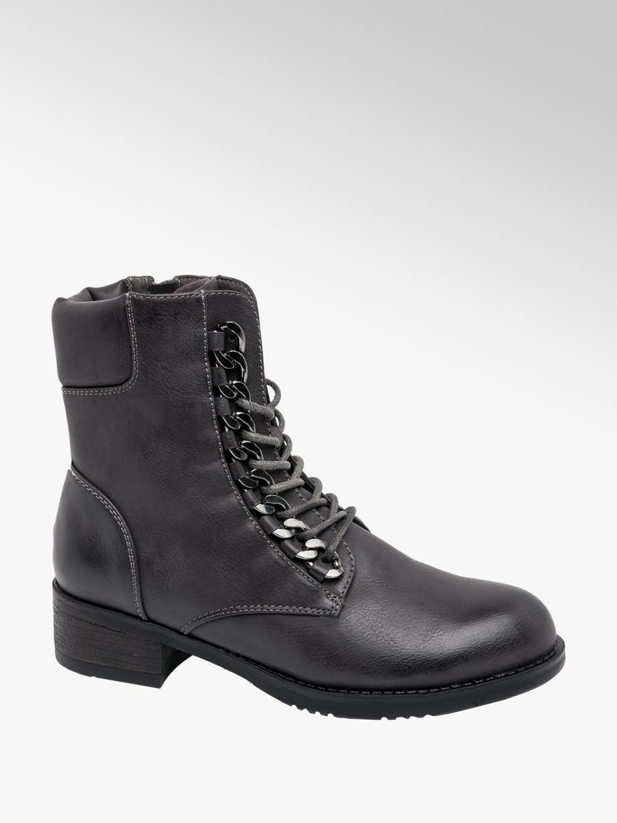 de1c4eee14e Graceland Ladies Chain Detail Lace-up Ankle Boots Black | Deichmann