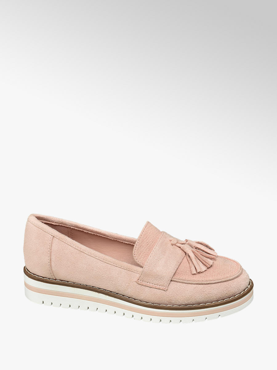 Graceland Ladies Faux Suede Loafers Pink