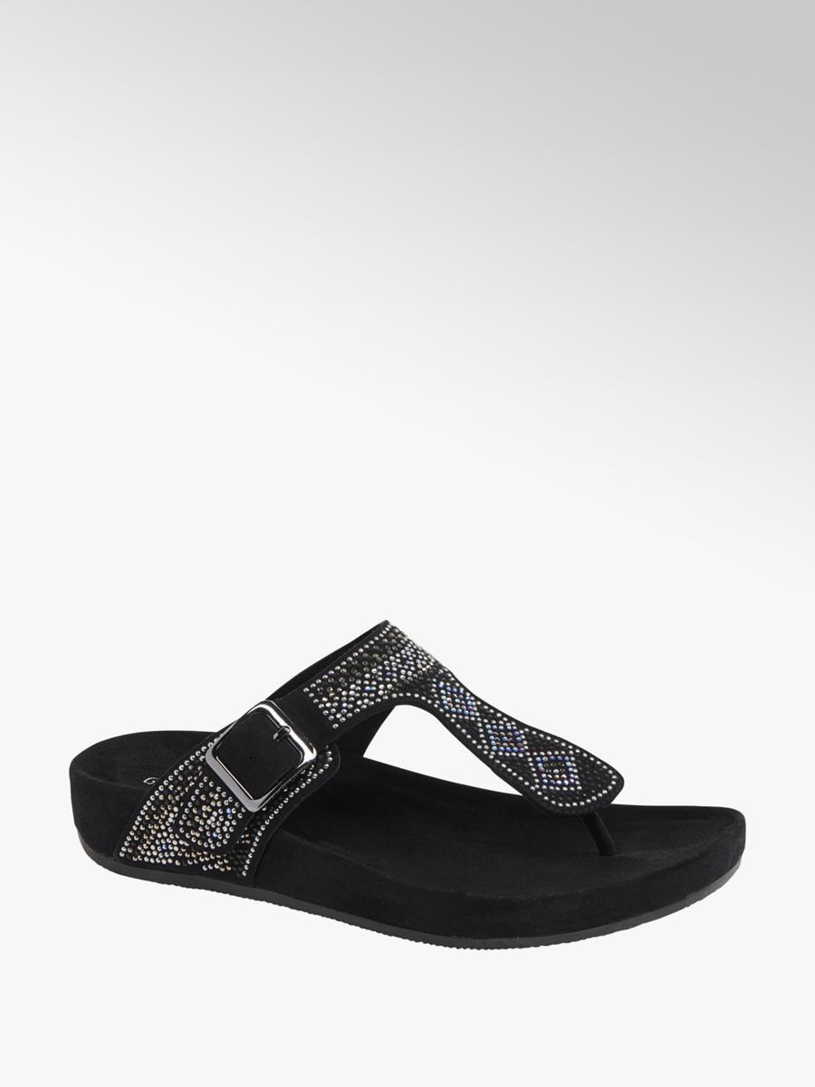 de834054ab4 Graceland Ladies Gem Detail Footbed Sandal Black