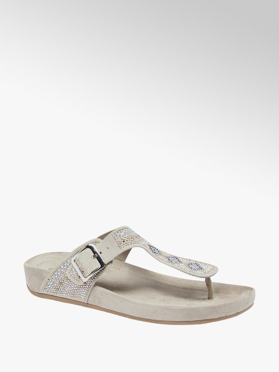 625fea0eccb Graceland Ladies Gem Detail Footbed Sandal Silver