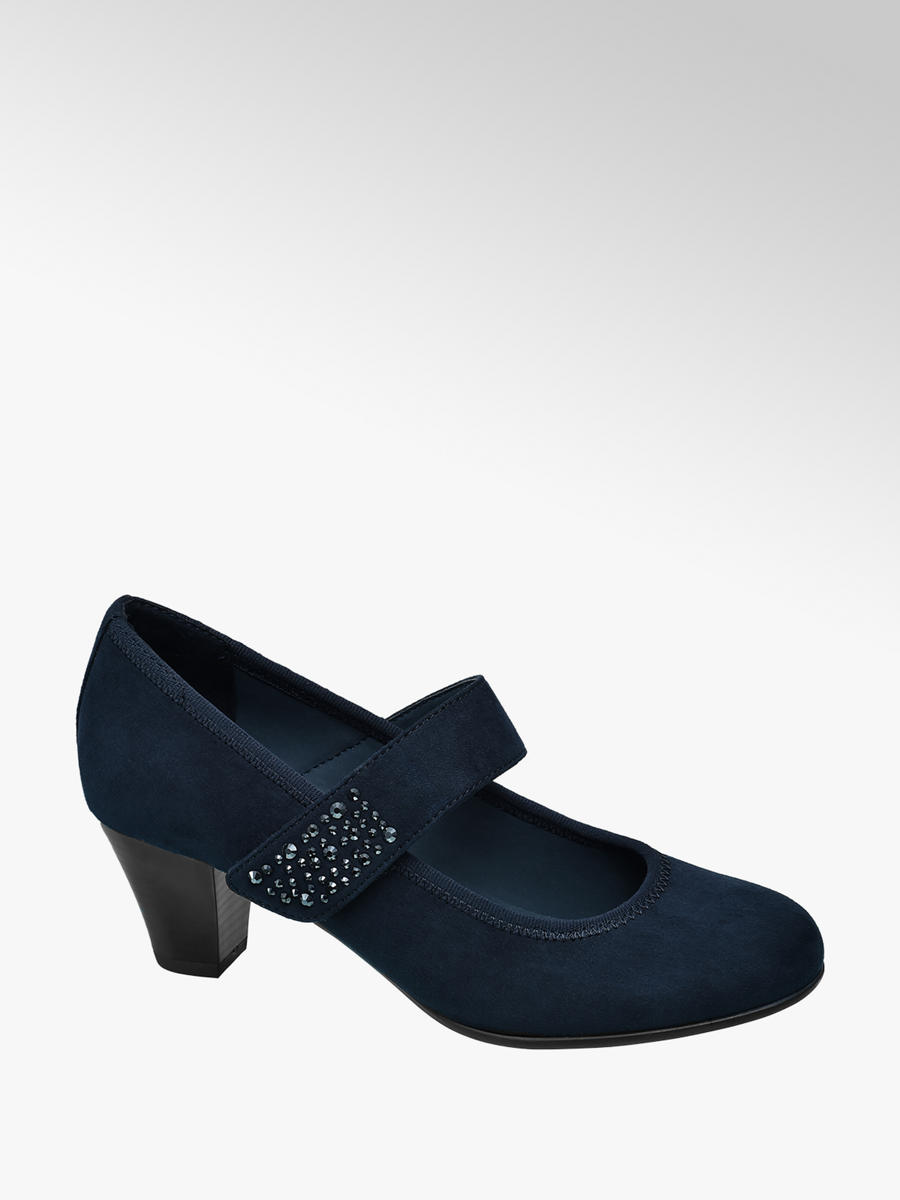 Gem Detail Heeled Shoes Navy
