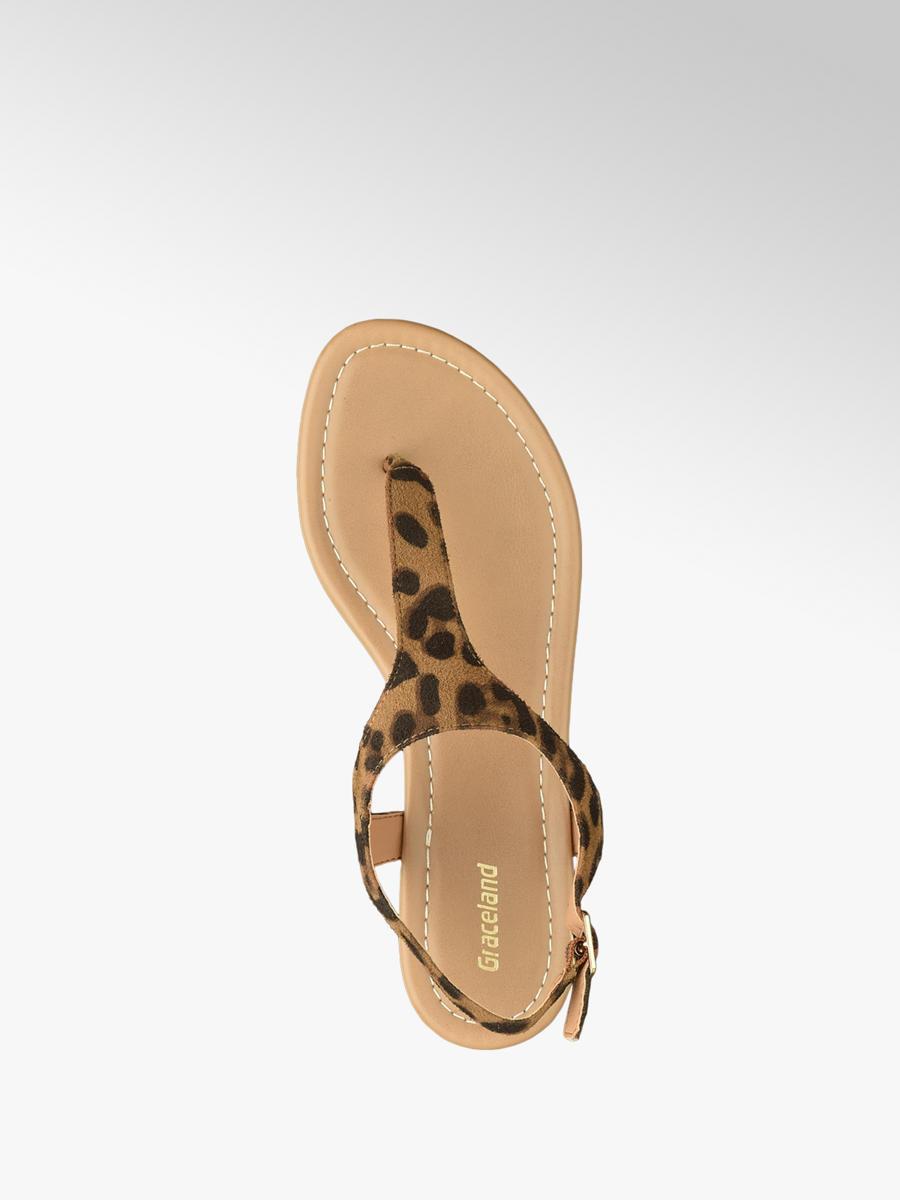 52a7acc3ac83 Graceland Ladies Leopard Print Toe Post Sandal Brown | Deichmann