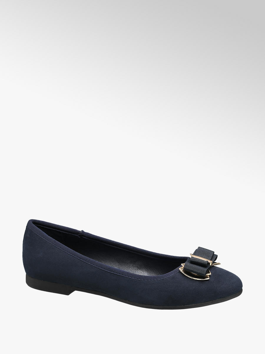 049a9d9bb74ee Graceland Ladies Navy & Gold Metal Bow Ballerina Shoes | Deichmann