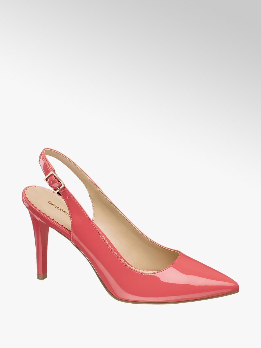 ebf49bbff966 Graceland Ladies  Pink Slingback Patent Court Shoes