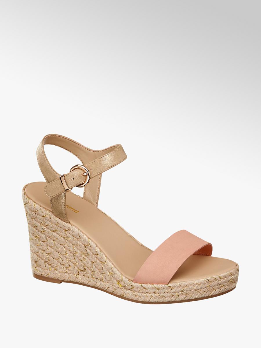 4a5c07d71f972 Graceland Ladies  Wedge Sandals Orange Gold