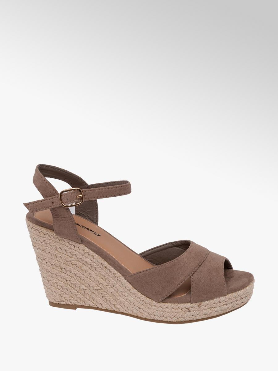 Graceland Ladies Wedge Sandals Taupe