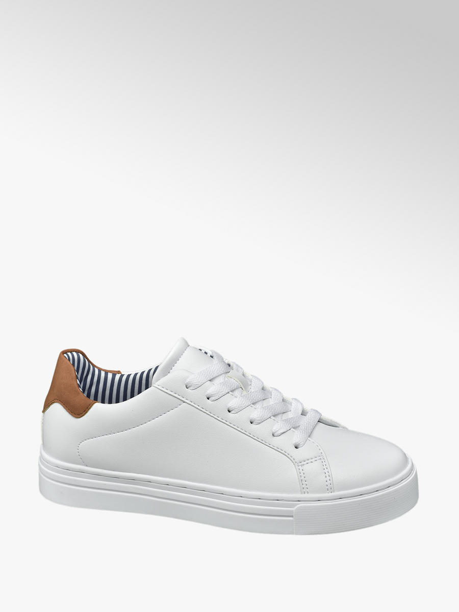 Graceland Ladies White Lace Up Trainers