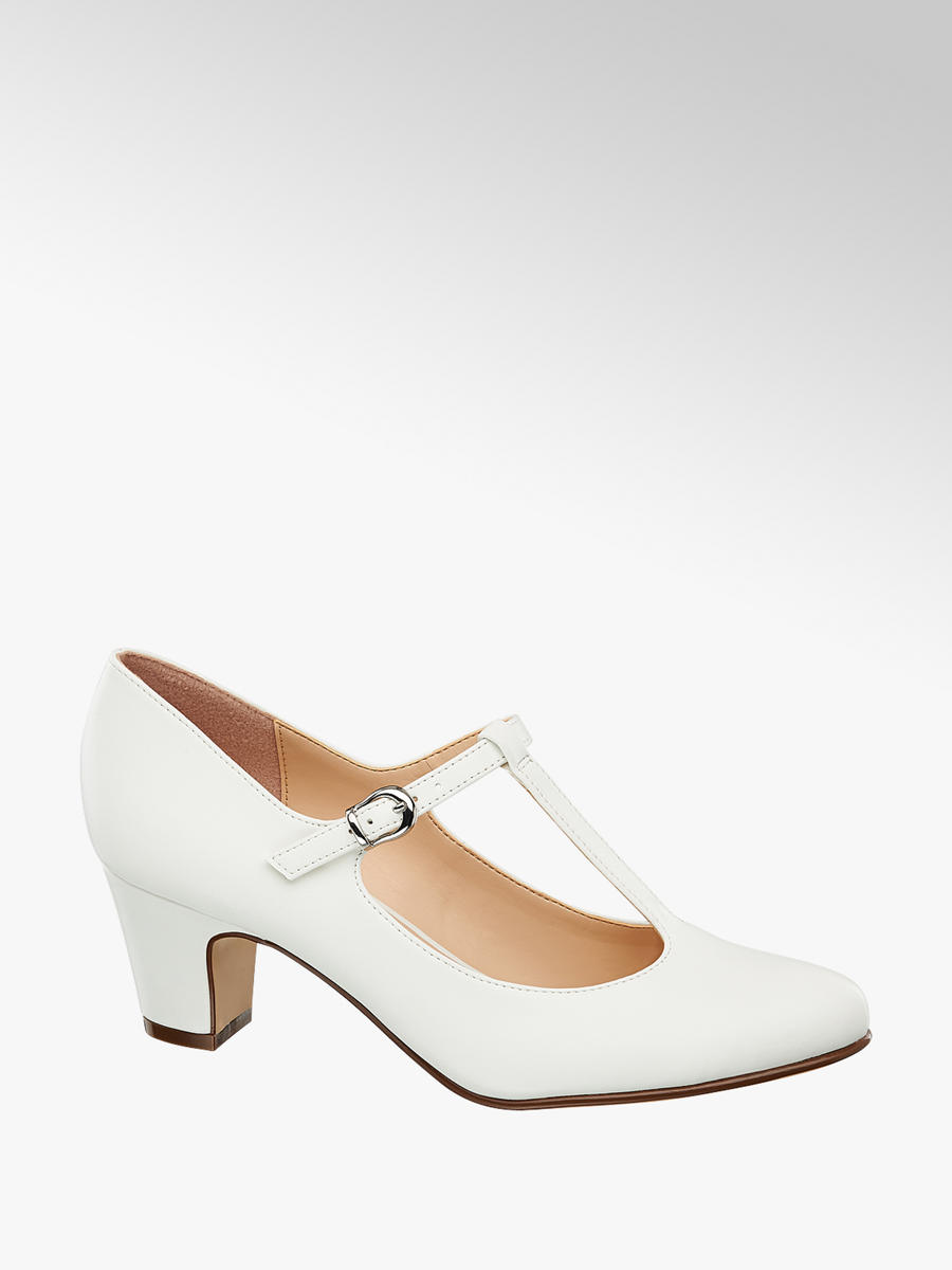 sale details for detailed look Graceland Ladies' White T-Bar Court Shoes | Deichmann