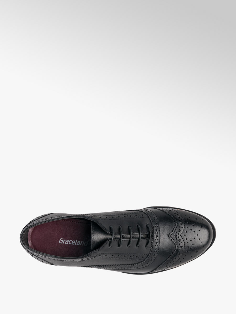 Teen Girl Leather Brogues Black