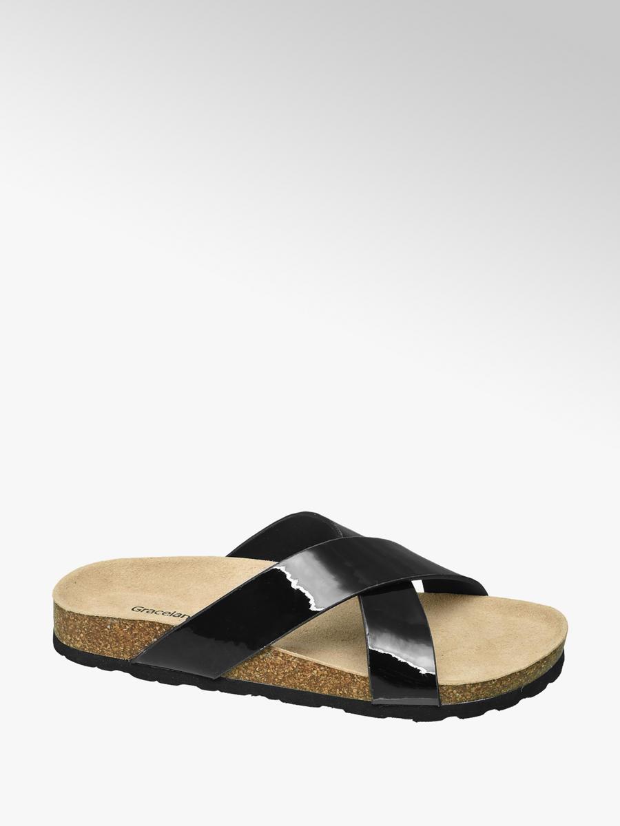 c64025ad184 Graceland Teen Girls  Black Patent Cross Strap Footbed Sandals ...