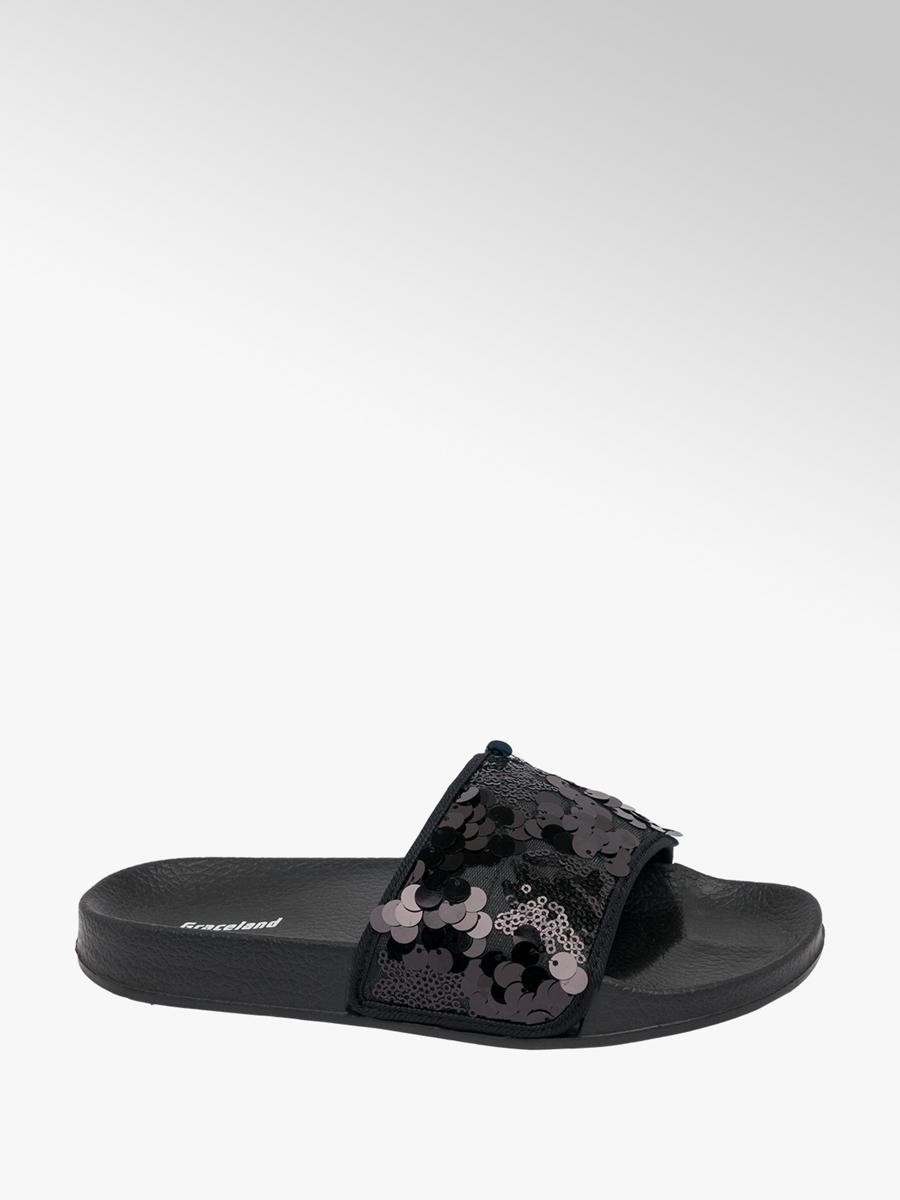 4ce982bff86 Graceland Teen Girls  Black Sequin Sliders