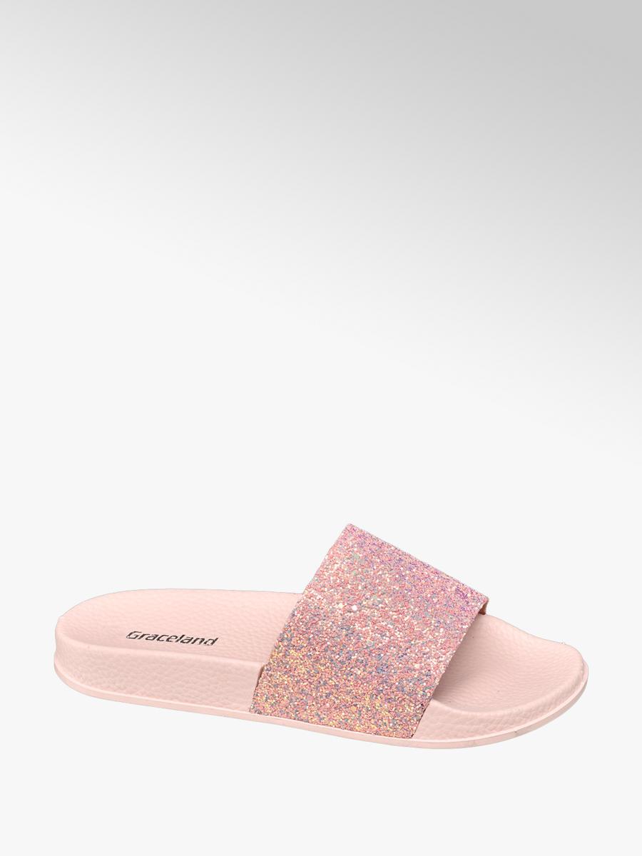 2278a234f0d2 Graceland Teen Girls  Glitter Sliders Pink