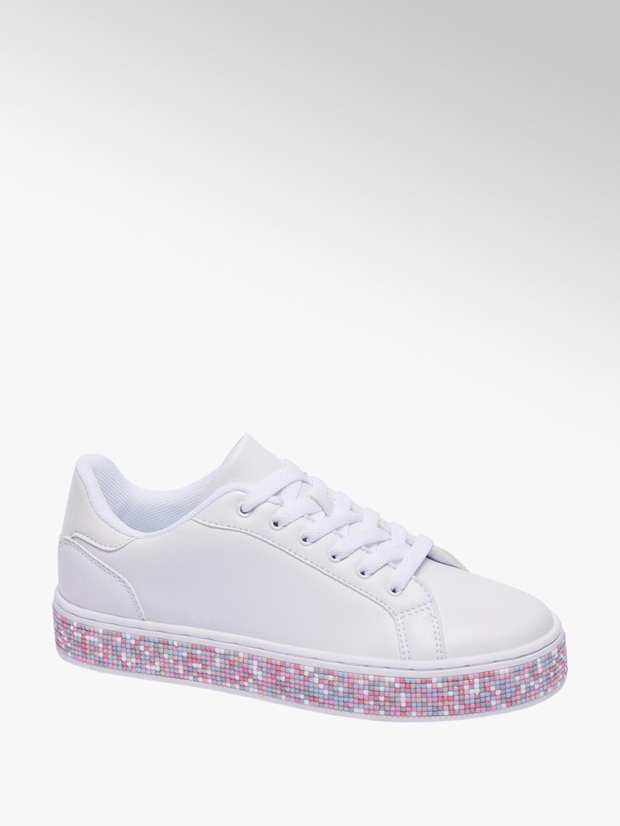 4b3fbb8f795 Graceland Witte sneaker plateauzool gekleurde steentjes - Gratis Bezorgd en  Retour | vanHaren.nl