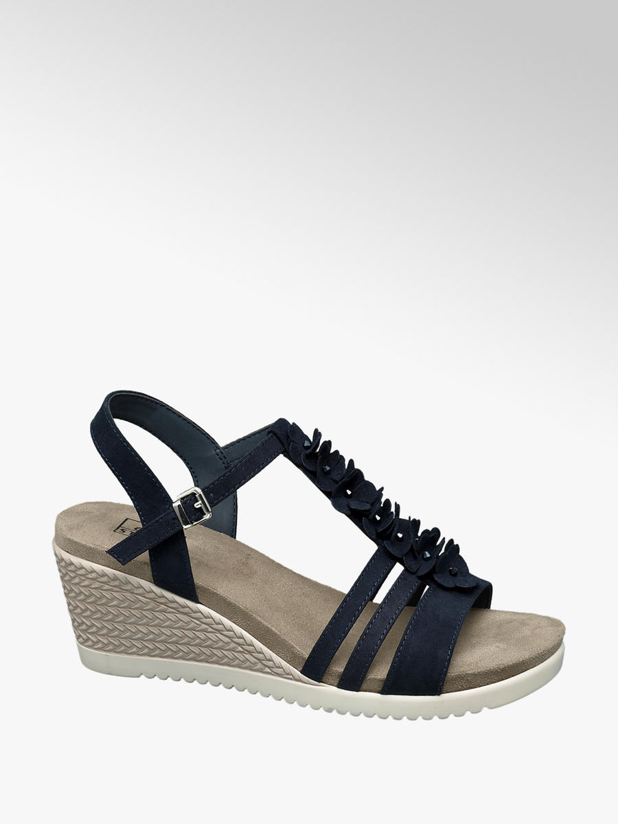 5d8dac42de27ff Granatowe sandały damskie na koturnie Easy Street - 1230880 - deichmann.com