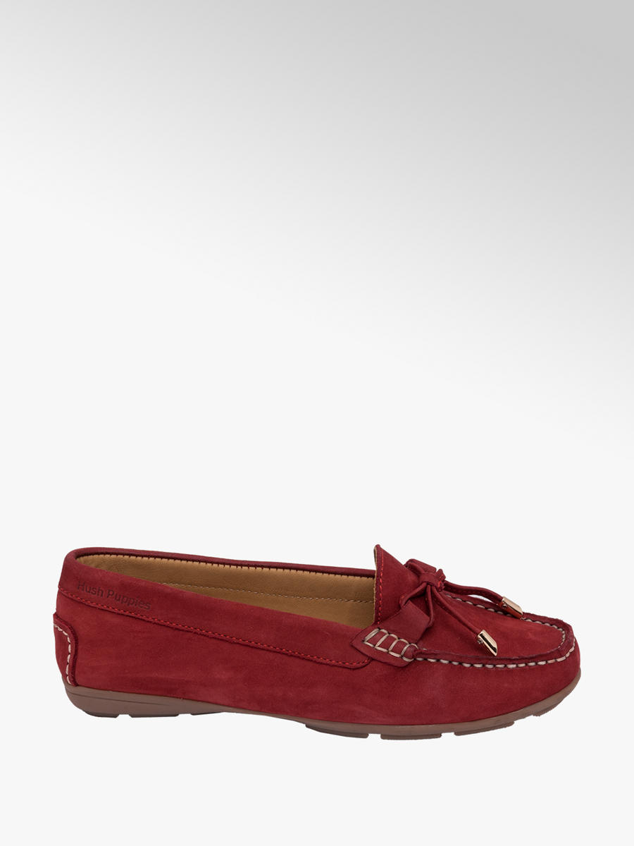 Hush Puppies Ladies Leather Comfort Moccasins Red