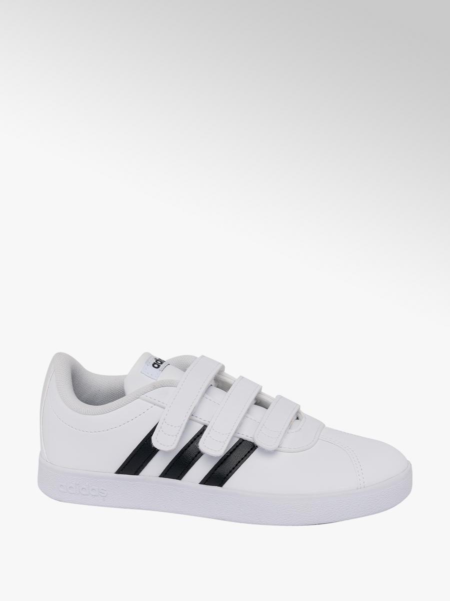 e27d81269b372 Junior Boys Adidas White  Black VL Court Velcro Trainers