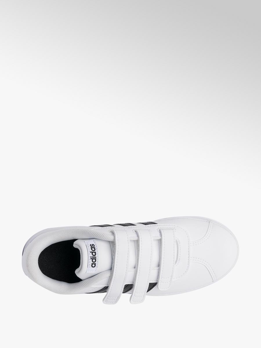 9aa08cfd589 adidas Junior Boys Adidas White  Black VL Court Velcro Trainers