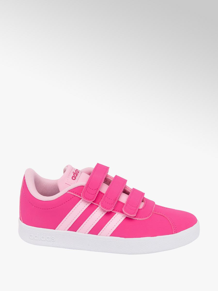 8dbbc02e29de2 Junior Girls Adidas Pink VL Court Velcro Trainers