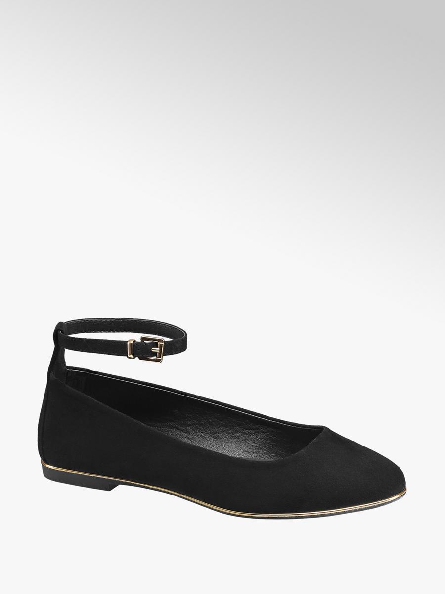 Ladies Ankle Strap Ballerinas Black