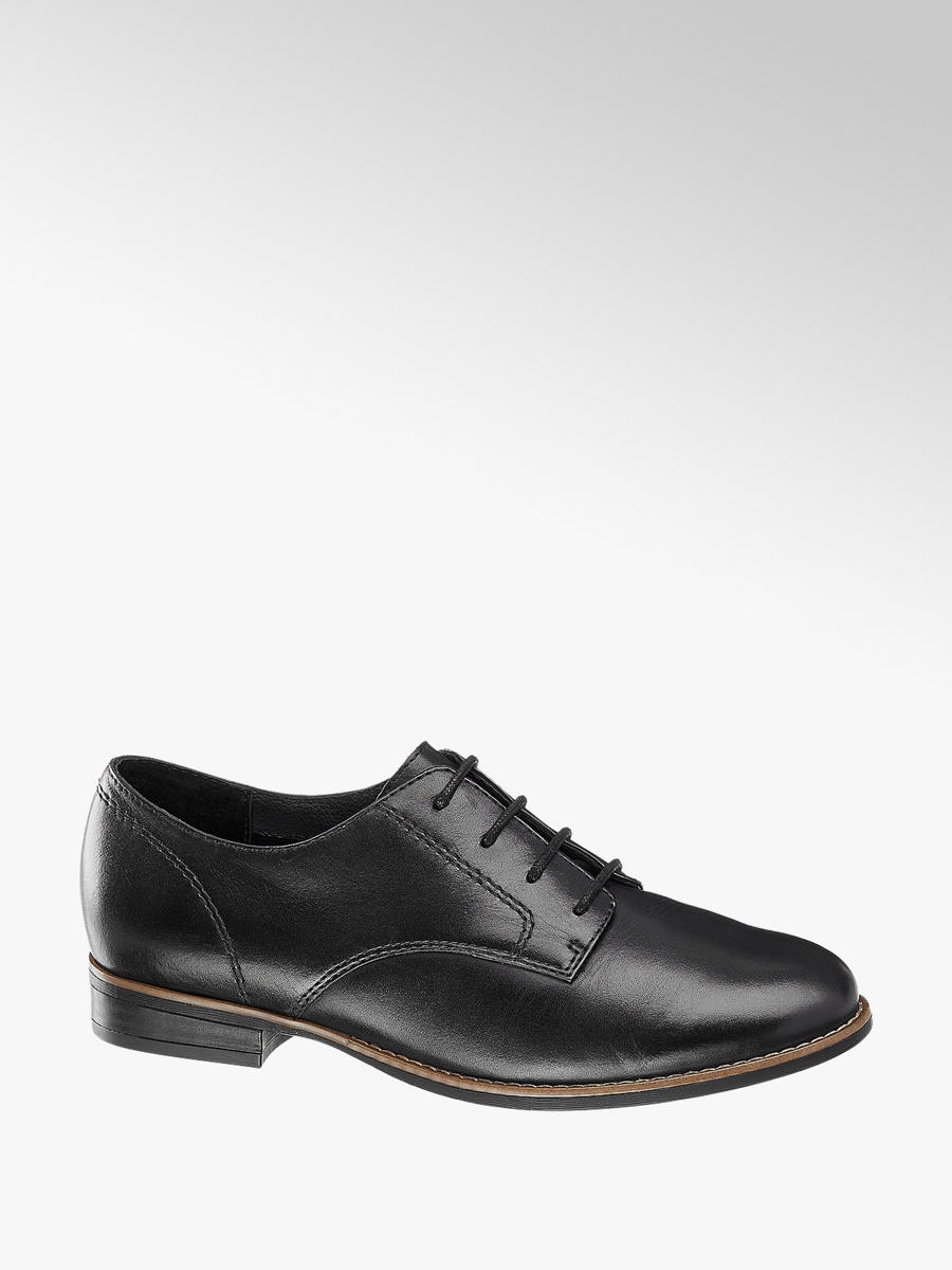 Black Leather Lace Up Loafers | Deichmann