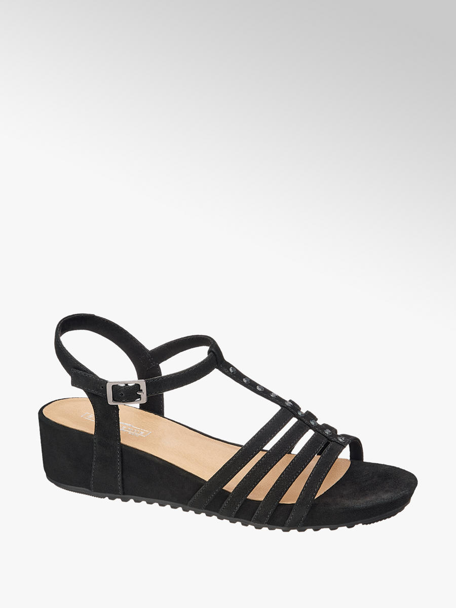 e8bc602f70 Ladies Black Leather Sandal   Deichmann