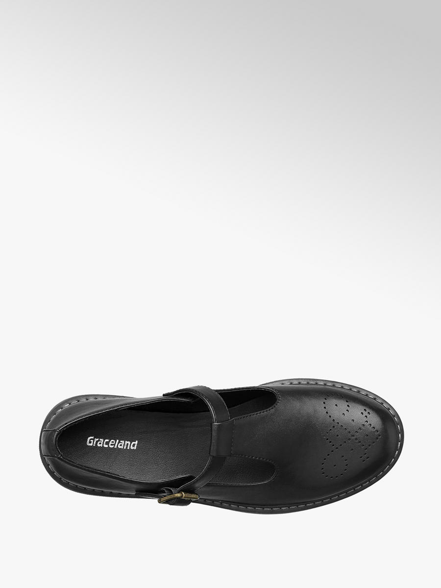 Ladies Chunky T-Bar Shoes Black