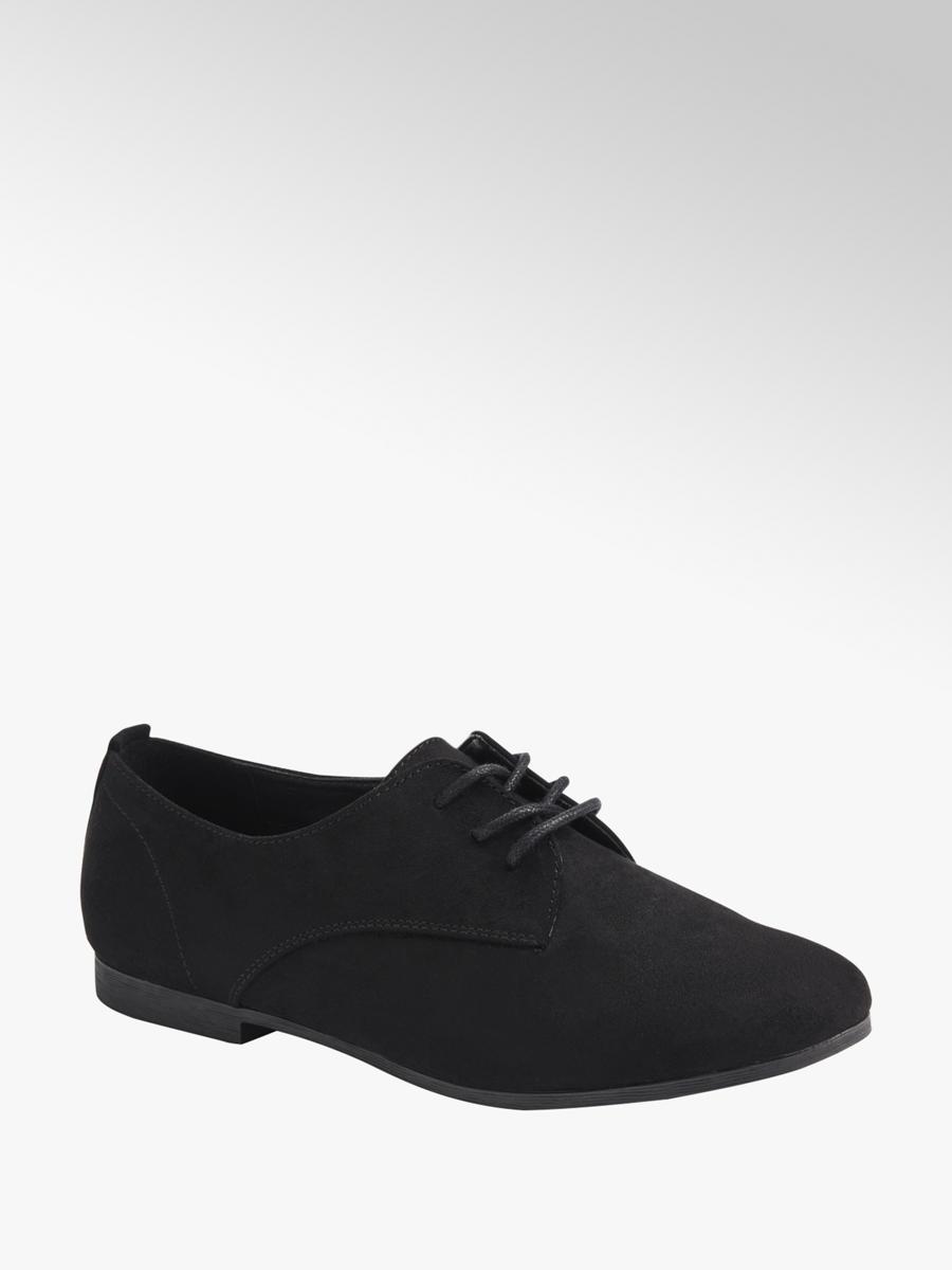 Ladies Flat Lace-up Smart Shoes Black