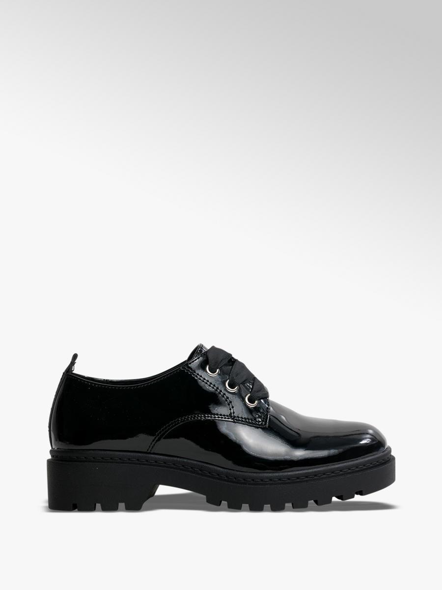 Ladies Patent Ribbon Lace-up Shoes Black