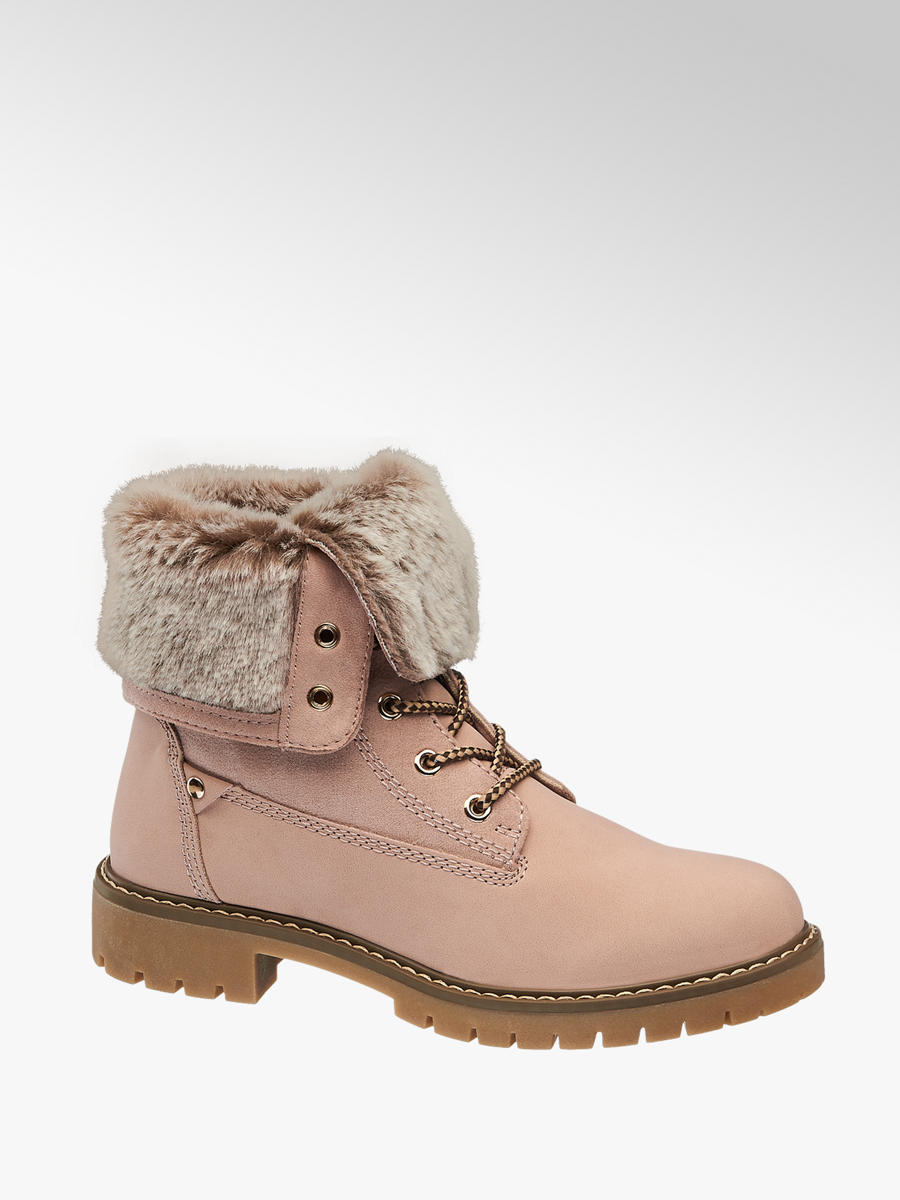 Ladies Fur Top Lace-up Ankle Boots Pink