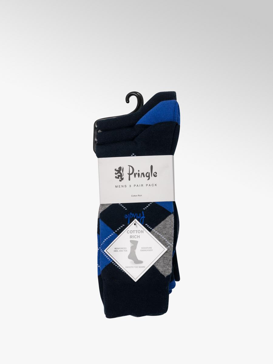 b14f67c85ce Pringle Men s 3 Pack Argyle Ankle Socks (UK 7-11) Navy Blue