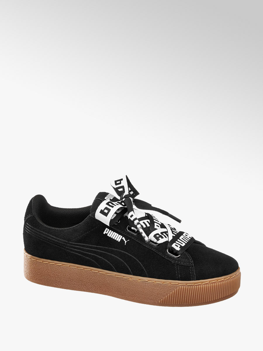 1a9bb0d44bb Puma Vikky Black Platform Ladies Trainers