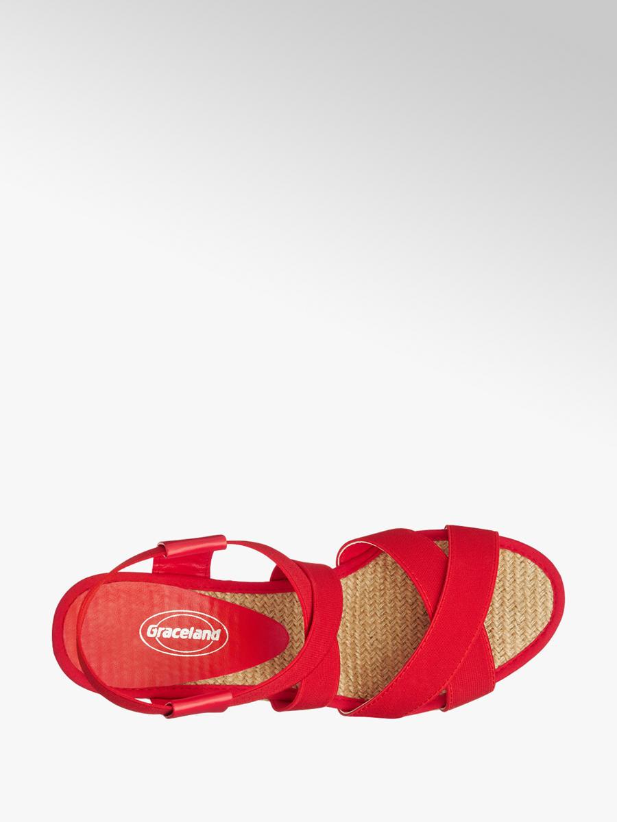 Sandále na klinovom podpätku značky Graceland vo farbe červená ... 706f94db73