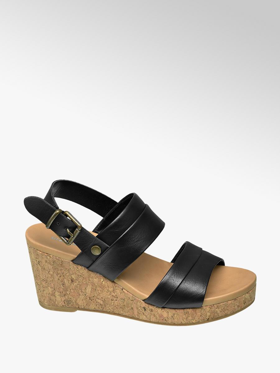 20220f64beed Sandále na klinovom podpätku značky Graceland vo farbe čierna -  deichmann.com