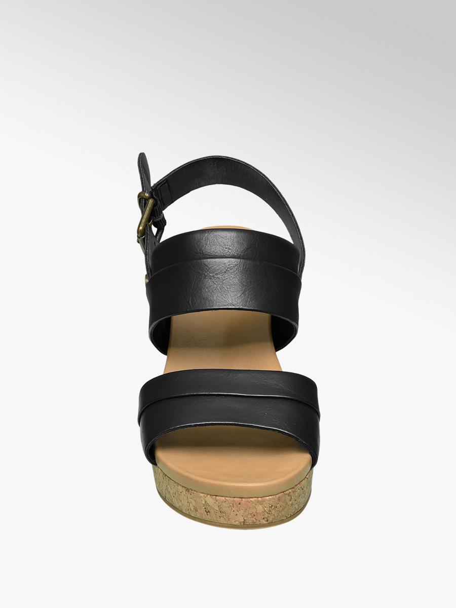 6fd1f948de4a Sandále na klinovom podpätku značky Graceland vo farbe čierna ...