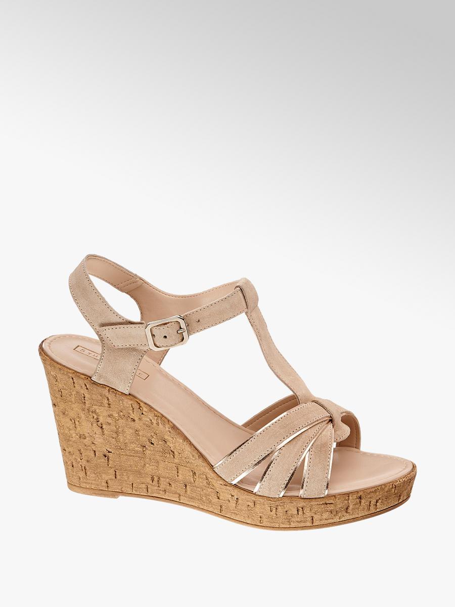 b8ce127b58a4 Semišové sandále na klinovom podpätku značky 5th Avenue vo farbe béžová -  deichmann.com
