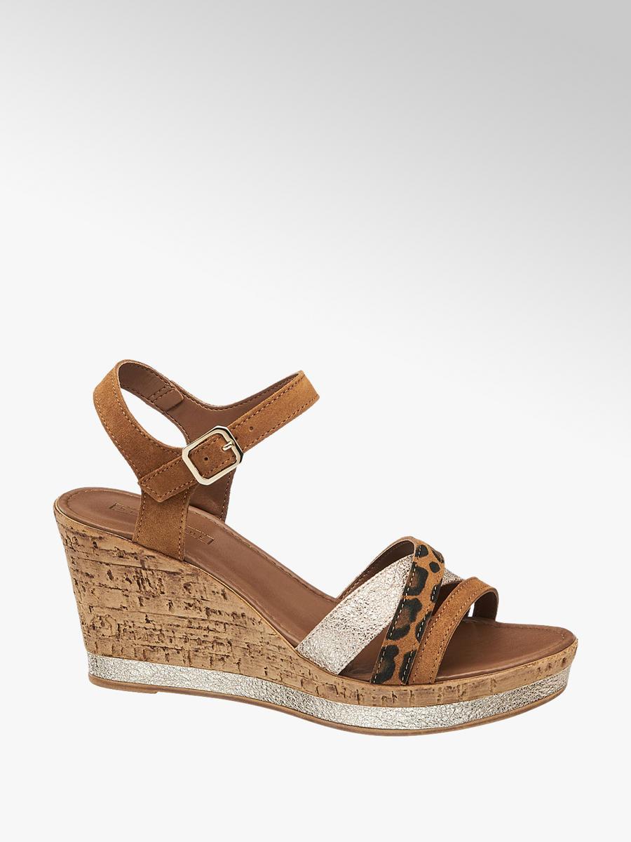 23921f10c0fa5 Semišové sandále na klinovom podpätku značky 5th Avenue vo farbe hnedá -  deichmann.com